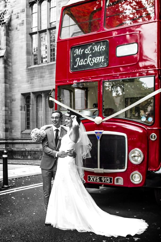 Wedding big red bus photo