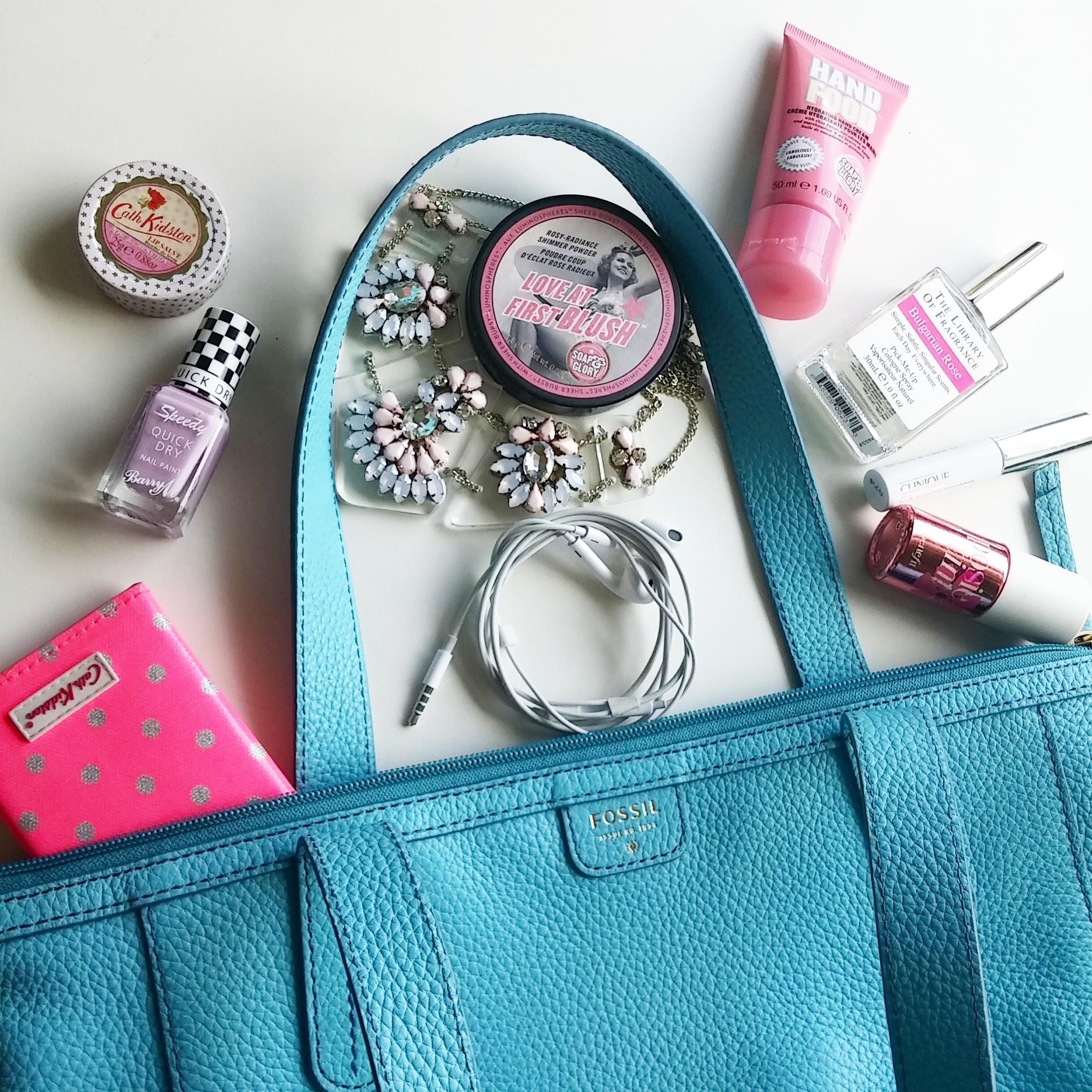 fossil handbag flatlay