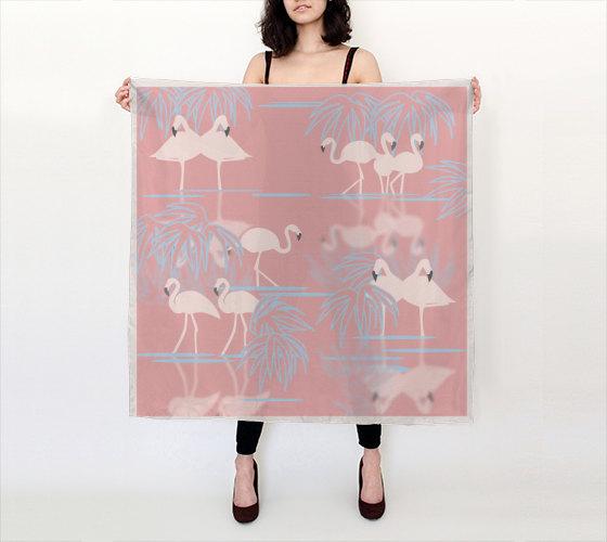 flamboyance, flamigos, printed silk scarf pattern