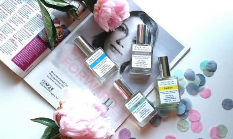 Demeter Fragrance, library of fragrance flatlay frangrance colonge summer perfume, rain, thunderstorm, sunshine and salt spray