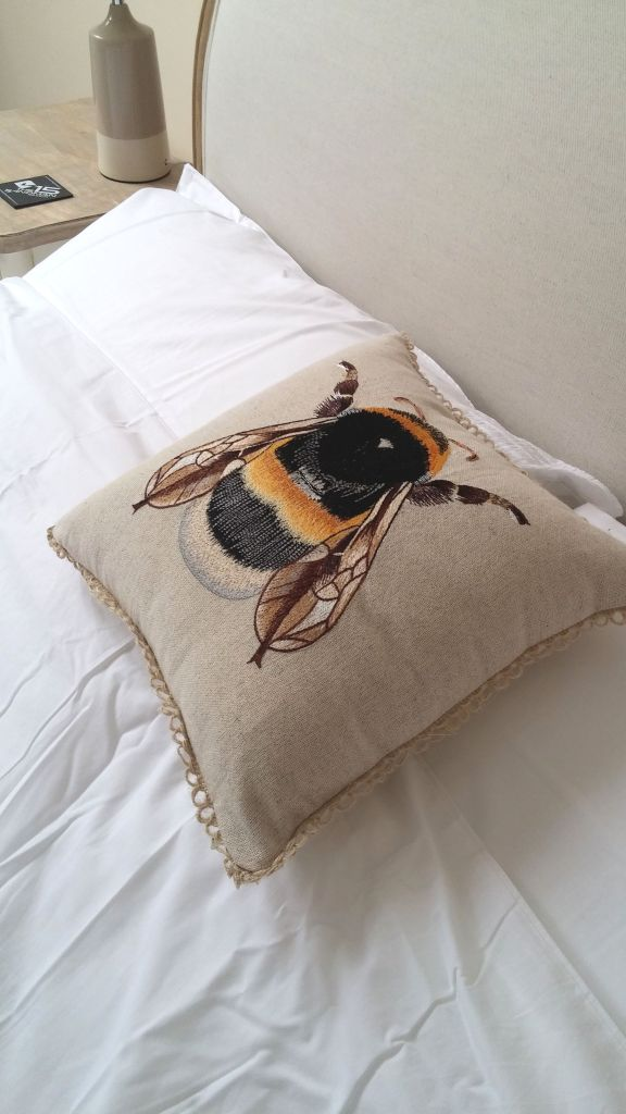 bumblebee embroidered cushion Marks and Spencer